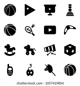 Solid vector icon set - basketball ball vector, play, presentation board, chess queen, badminton, playback, boomerang, rocking horse, wheel, xylophone, cube toy, phone, yoyo, unicorn stick