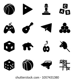 Solid vector icon set - basketball ball vector, play, pawn, abc cube, joystick, guitar, paper plane, billiards balls, toy, elephant wheel, yoyo, unicorn stick, bones, water gun, Tic tac toe