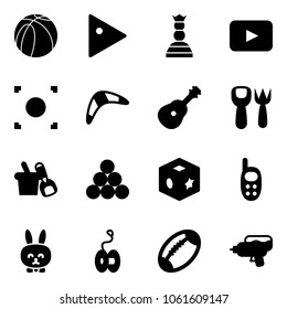 Solid vector icon set - basketball ball vector, play, chess queen, playback, record button, boomerang, guitar, shovel fork toy, bucket, billiards balls, cube, phone, rabbit, yoyo, football