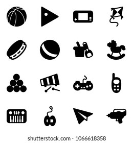 Solid vector icon set - basketball ball vector, play, game console, kite, tambourine, shovel bucket, rocking horse, billiards balls, xylophone, gamepad, phone toy, piano, yoyo, paper plane