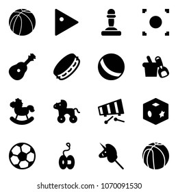 Solid vector icon set - basketball ball vector, play, pawn, record button, guitar, tambourine, shovel bucket, rocking horse, wheel, xylophone, cube toy, soccer, yoyo, unicorn stick