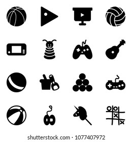 Solid vector icon set - basketball ball vector, play, presentation board, volleyball, game console, pyramid toy, joystick, guitar, shovel bucket, billiards balls, gamepad, beach, yoyo, unicorn stick