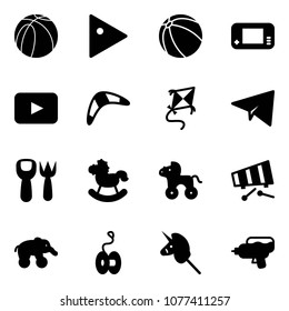 Solid vector icon set - basketball ball vector, play, game console, playback, boomerang, kite, paper plane, shovel fork toy, rocking horse, wheel, xylophone, elephant, yoyo, unicorn stick, water gun