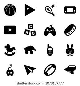 Solid vector icon set - basketball ball vector, play, badminton, game console, playback, abc cube, joystick, tambourine, rocking horse, elephant wheel, phone toy, rabbit, yoyo, paper plane, football