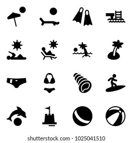 Solid vector icon set - beach vector, lounger, flippers, pool, reading, palm, swimsuit, shell, surfing, dolphin, sand castle, ball
