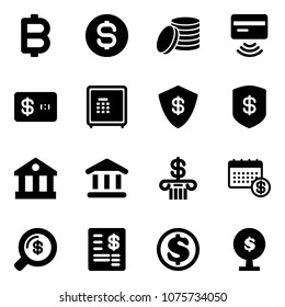 Solid vector icon set - bitcoin vector, dollar coin, tap pay, credit card, safe, bank, calendar, money search, account statement, tree