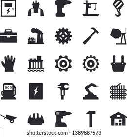 Solid vector icon set - builder flat vector, hook, concrete mixer, wheelbarrow, drill screwdriver, tool bag, hard hat, switch box, hammer, gloves, refueling, factory, hydroelectric power station