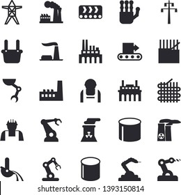 Solid vector icon set - builder flat vector, factory, power line support, manufactory, plant, conveyor, construction worker, fabric manufacture, pipe production, robotics, metallurgy, robot hand