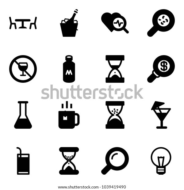 Solid vector icon set - cafe vector, champagne, heart diagnosis, bacteria, no alcohol sign, milk, sand clock, search money, flask, green tea, drink, magnifier, bulb
