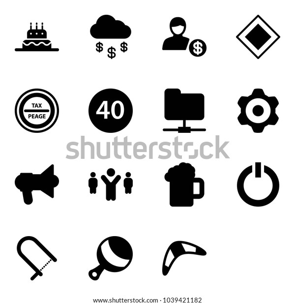 Solid vector icon set - cake vector, money rain, account, main road sign, tax peage, minimal speed limit, network folder, gear, megaphone, team leader, beer, standby button, fretsaw, beanbag