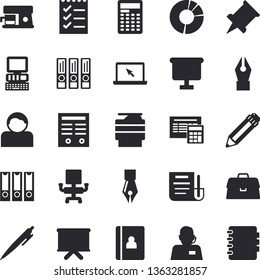 Solid vector icon set - calculator flat vector, coffee machine, telephone operator, flipchart, briefcase, clircle diagram, document, ink pen, office chair, to do list, pencil, copy, laptop, contract
