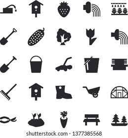 Solid vector icon set - carrot flat vector, cucumber, Strawberry, nesting box, tree, sprinkling machine, shovel, hose, secateurs, rake, bucketful, planting plants, irrigation, garden wheelbarrow