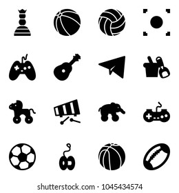 Solid vector icon set - chess queen vector, ball, volleyball, record button, joystick, guitar, paper plane, shovel bucket, wheel horse, xylophone, elephant, gamepad, soccer, yoyo, basketball