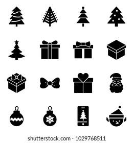 Solid vector icon set - christmas tree vector, gift, bow, santa claus, ball, mobile, elf