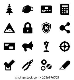 Solid vector icon set - christmas tree vector, lemon, credit card, calculator, steep descent road sign, locked, shield cross, share, envelope, megaphone, pennant, target, check, pliers, rivet