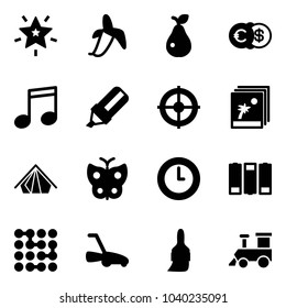 Solid vector icon set - christmas star vector, banana, pear, euro dollar, music, highlight marker, target, photo, tent, butterfly, clock, battery, circuit, lawn mower, brush, toy train
