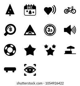 Solid vector icon set - christmas tree vector, calendar, heart beat, bike, money search, drawbridge road sign, limited height, volume max, lifebuoy, star medal, stars, inflatable pool, skateboard