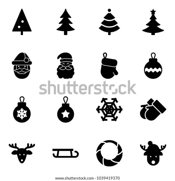 Solid vector icon set - christmas tree vector, santa claus, glove, ball, snowflake, gloves, deer, sleigh, wreath, hat