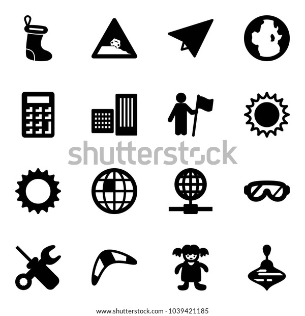 Solid vector icon set - christmas sock vector, steep roadside road sign, paper plane, globe, calculator, building, win, sun, protective glasses, wrench screwdriver, boomerang, doll, wirligig toy