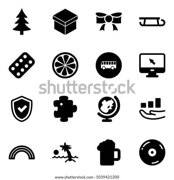 Solid vector icon set - christmas tree vector, gift, bow, sleigh, pills blister, lemon slice, bus road sign, monitor cursor, shield check, puzzle, globe, growth, rainbow, palm, beer, cd