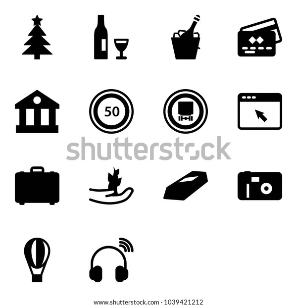 Solid vector icon set - christmas tree vector, wine, champagne, credit card, bank, speed limit 50 road sign, no dangerous cargo, cursor browser, case, hand sproute, gold, photo, air balloon