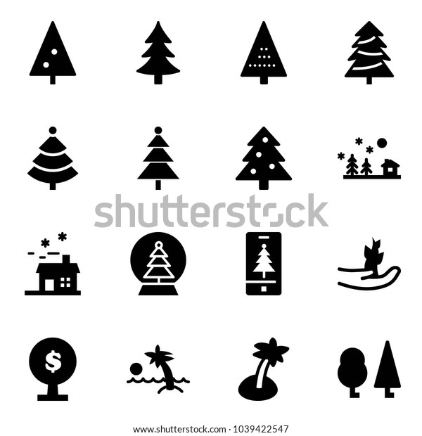 Solid vector icon set - christmas tree vector, landscape, house, snowball, mobile, hand sproute, money, palm, forest