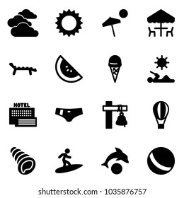 Solid vector icon set - clouds vector, sun, beach, outdoor cafe, lounger, watermelone, ice cream, reading, sea hotel, swimsuit, ship bell, air balloon, shell, surfing, dolphin, ball