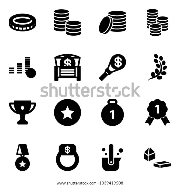 Solid vector icon set - coin vector, money chest, torch, golden branch, gold cup, star medal, finger ring, casting of steel, constructor blocks