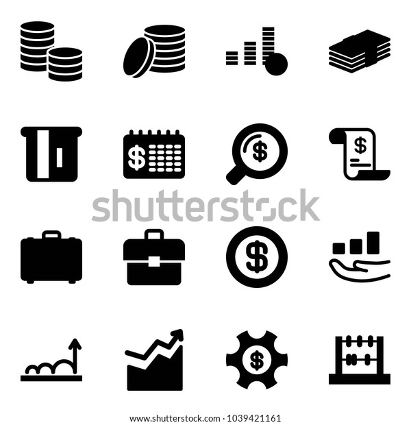 Solid vector icon set - coin vector, dollar, atm, finance calendar, money search, account history, case, portfolio, growth, managemet, abacus