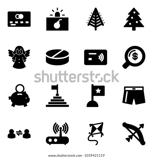 Solid vector icon set - credit card vector, terrorism, christmas tree, angel, pill, tap pay, money search, piggy bank, pyramid flag, swimsuit, information exchange, wi fi router, kite, bow