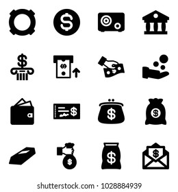 Solid vector icon set - currency vector, dollar coin, safe, bank, atm, cash pay, wallet, check, purse, money bag, gold, rich, mail