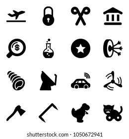Solid vector icon set - departure vector, lock, santa stick, bank, money search, round flask, star medal, solution, shell, satellite antenna, car wireless, wind mill, axe, staple, dinosaur toy, cat