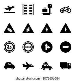 Solid vector icon set - departure vector, plane seats, baggage scales, bike, multi lane traffic road sign, abrupt turn right, intersection, limited height, no overtake, only forward, car, truck toy