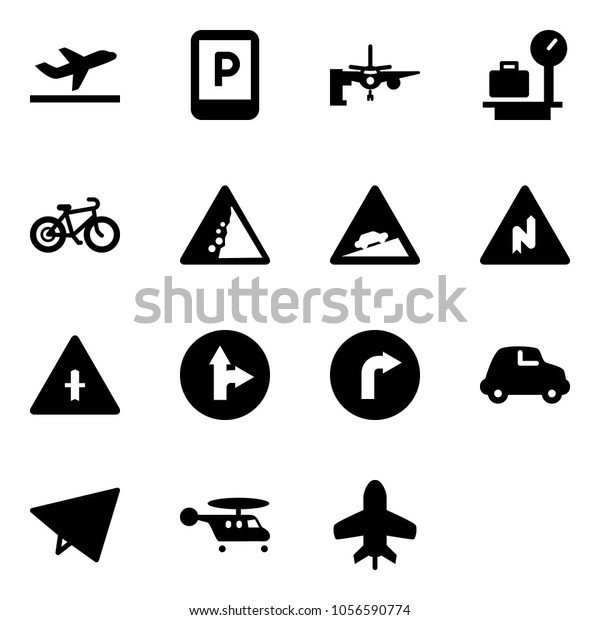 Solid Vector Icon Set Departure Vector Stock Vector Royalty Free 1056590774