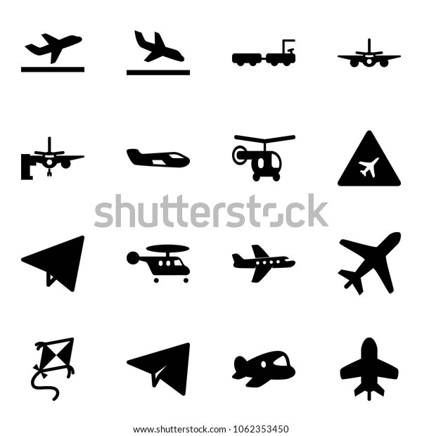 Solid Vector Icon Set Departure Vector Stock Vector Royalty Free 1062353450
