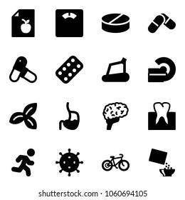 Solid vector icon set - diet list vector, floor scales, pill, pills, blister, treadmill, mri, three leafs, stomach, brain, tooth, run, virus, bike, cereal