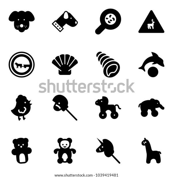 Solid vector icon set - dog vector, bacteria, wild animals road sign, no cart horse, shell, dolphin, chicken toy, stick, wheel, elephant, bear, unicorn, giraffe
