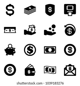 Solid vector icon set - dollar sign vector, safe, atm, cash, investment, pay, money back, piggy bank, finance management, mail