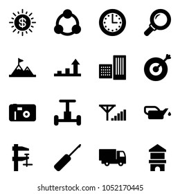 Solid vector icon set - dollar sun vector, social, time, magnifier, attainment, growth arrow, building, target, photo, gyroscope, fine signal, oiler, clamp, awl, truck toy, block house