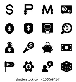 Solid vector icon set - dollar vector, ruble, monero, safe, atm, money search, bag, torch, piggy bank, ipo, managemet, dialog, bones