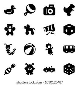 Solid vector icon set - duck toy vector, beanbag, camera, dinosaur, bear, wheel horse, xylophone, cube, caterpillar, beach ball, doll, bus, dart, monster, car, bones