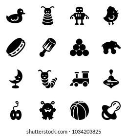 Solid vector icon set - duck toy vector, pyramid, robot, chicken, tambourine, beanbag, billiards balls, elephant wheel, moon lamp, caterpillar, train, wirligig, yoyo, monster, basketball, soother