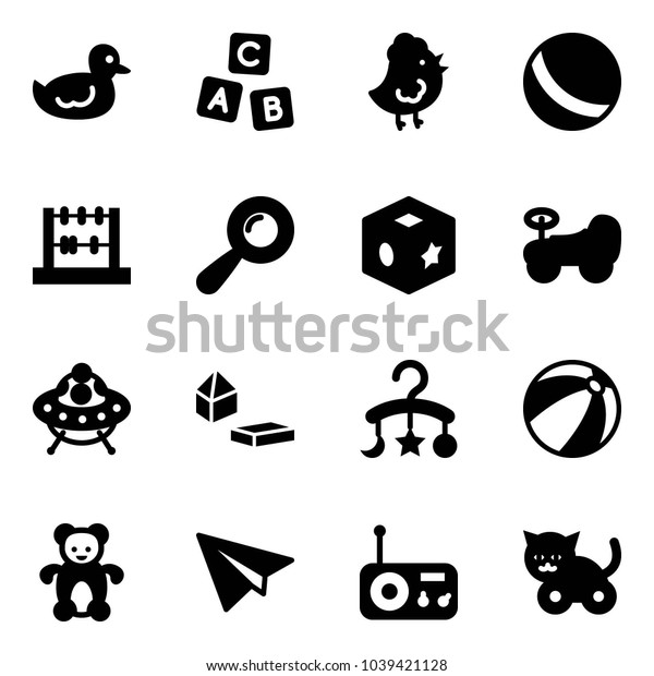 Solid vector icon set - duck toy vector, abc cube, chicken, ball, abacus, beanbag, baby car, ufo, constructor blocks, carousel, beach, bear, paper plane, radio, cat