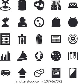 Solid vector icon set - electric stove flat vector, cutlet, popcorn, scrambled eggs, pond, oil tanks, bags, trucking, barcode, sailboat, statistic, abacus, phone operator, folder, globe, beakers