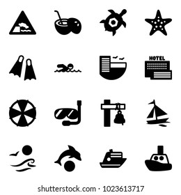 Solid vector icon set - embankment vector road sign, coconut cocktail, sea turtle, starfish, flippers, swimming, hotel, parasol, diving, ship bell, sail boat, waves, dolphin, cruiser, toy