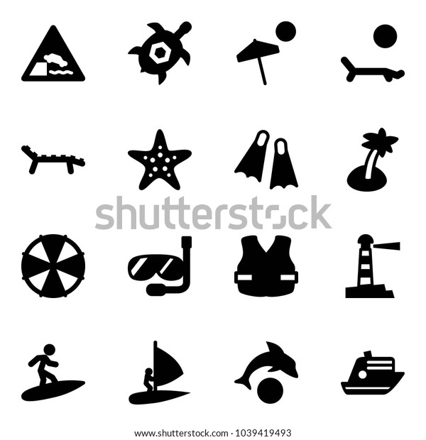 Solid vector icon set - embankment vector road sign, sea turtle, beach, lounger, starfish, flippers, palm, parasol, diving, life vest, lighthouse, surfing, windsurfing, dolphin, cruiser