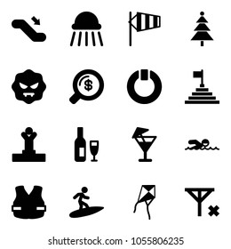 Solid vector icon set - escalator down vector, shower, side wind, christmas tree, virus, money search, standby, pyramid flag, winner, wine, drink, swimming, life vest, surfing, kite, no signal