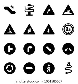 Solid vector icon set - escalator down vector, road signpost sign, turn right, steep roadside, pedestrian, abrupt, intersection, limited height, only forward, detour, circle, way, trip