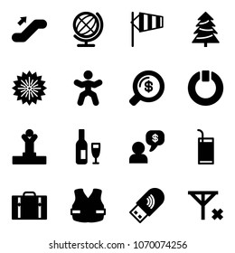 Solid vector icon set - escalator up vector, globe, side wind, christmas tree, firework, gymnastics, money search, standby, winner, wine, dialog, drink, suitcase, life vest, usb wi fi, no signal