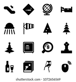 Solid vector icon set - escalator down vector, smoking area sign, globe, hotel, shower, side wind, christmas tree, safe, money search, winner, wine, photo, kite, mouse wireless